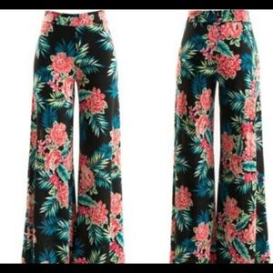 Pants - Black Tropical Jersey Wide Leg Pants